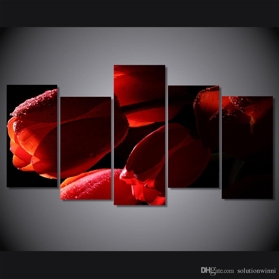 5 Panel HD Printed red tulips flowers oil Painting on canvas room decoration print poster picture canvas calla lily oil painting