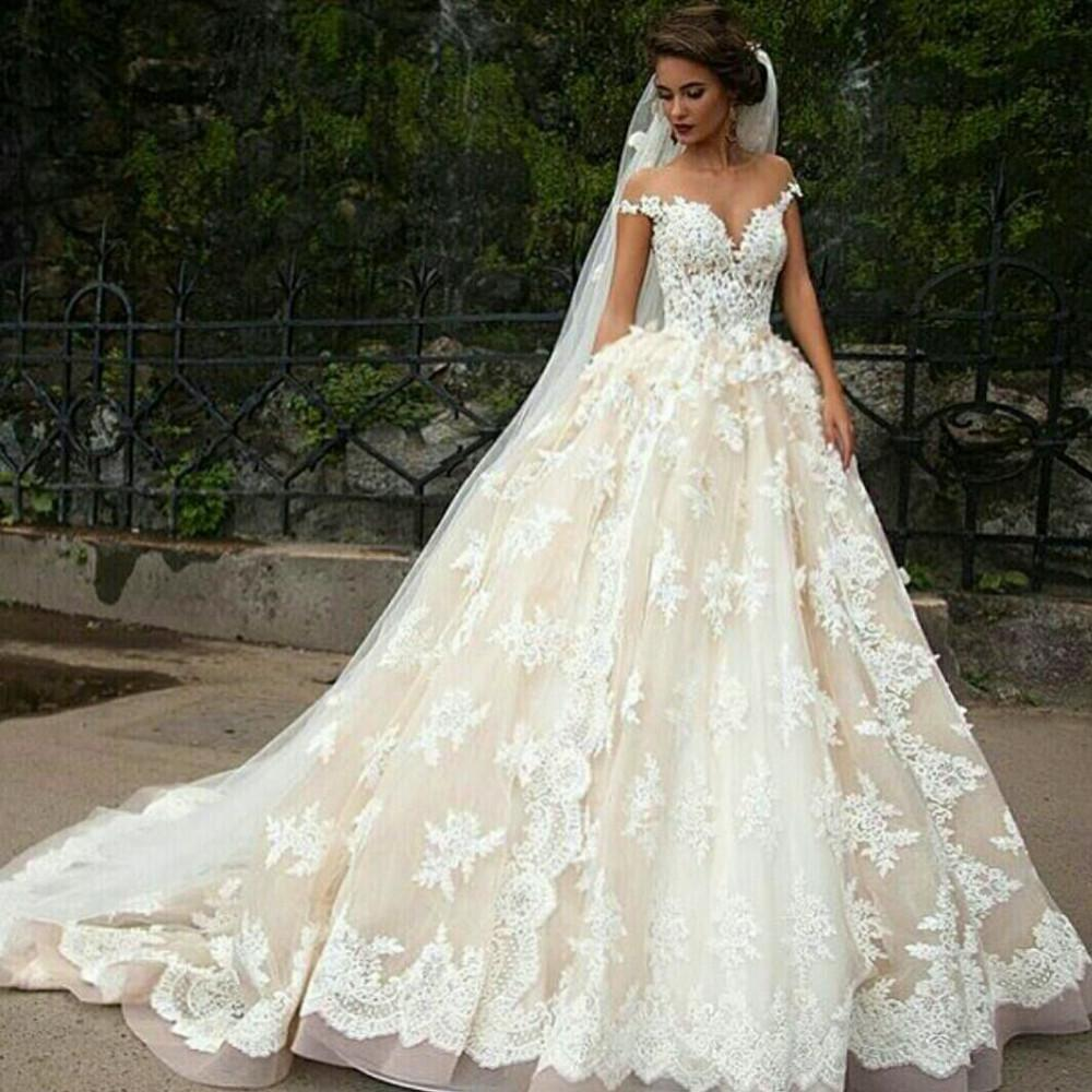 Vintage Champagne Wedding Dresses Lace Appliques Ball Gown: Vintage 2016 Cinderella Ball Gown Wedding Dresses Sheer