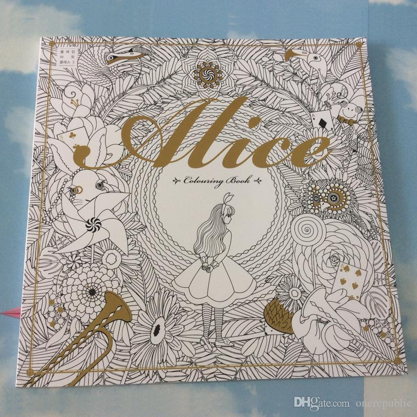 96 Pages Alice In Wonderland Colouring Book For Adult Relieve Stress Secret Garden Style Graffiti Painting Drawing Coloring 1884