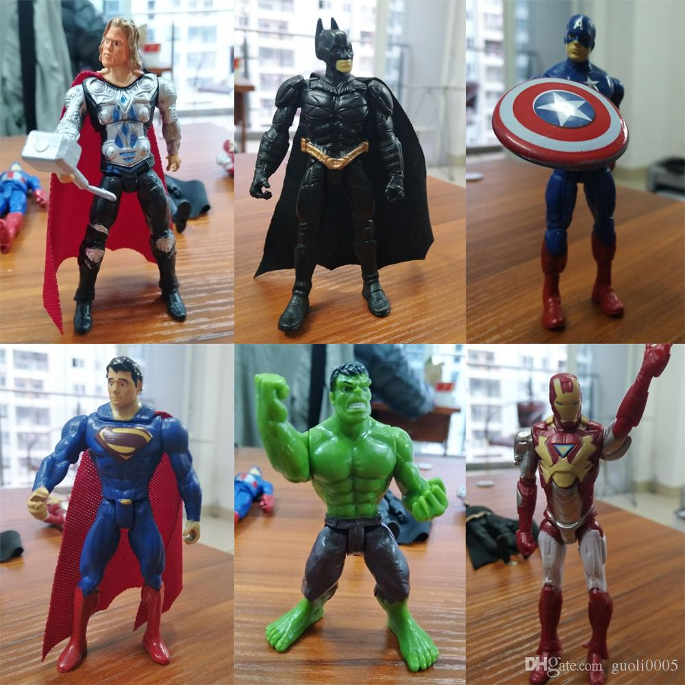6pcs/set 10cm super hero the Avengers Figures PVC model Toys Spider man Iron Man Thor action toys gifts for boys