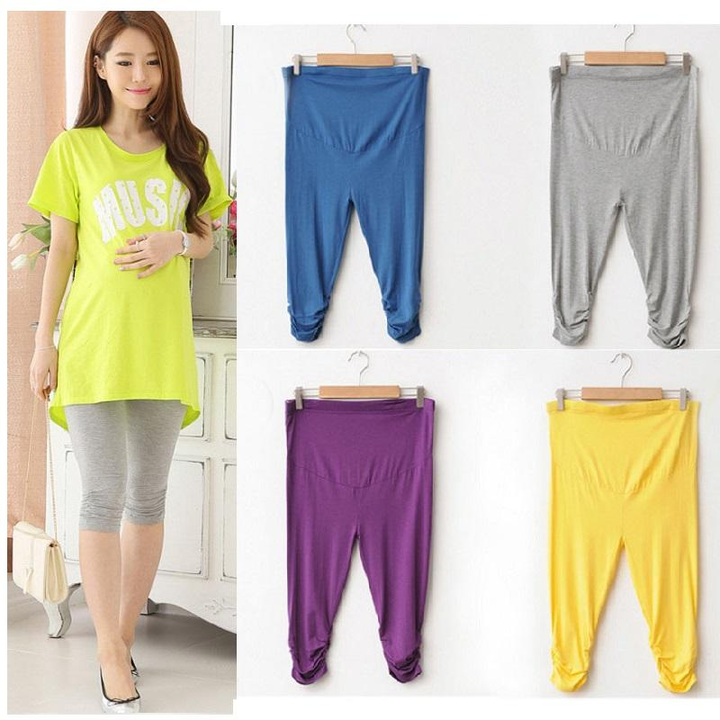 80Pcs New Summer Maternity Pants Pregnant Women Elastic Capris Pant Solid Pleated Modal Leggings Clothing Wholesale ZA0263