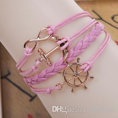 2016 Newest Gold Hunger Games Infinity Bracelets Multi Layer Braided Leather Handmade Combination Pattern Colorful Charm Unisex Bracelets