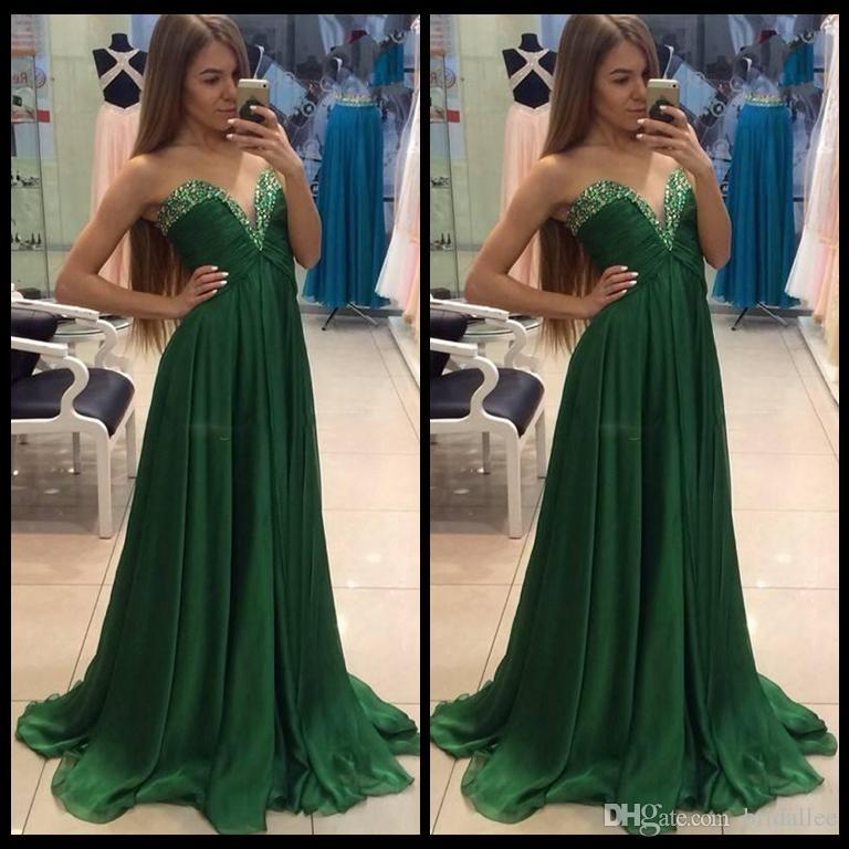 Verde escuro Chiffon Vestidos de Baile com Miçangas Uma Linha Querida Vestidos de Festa de Maternidade Plus Size Paarty Formal Vestido de Noite Vestidos