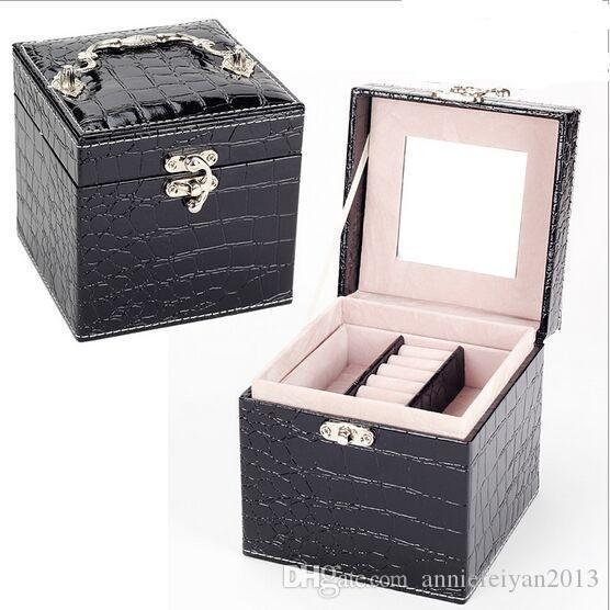 12.5 * 12.5 * 12.5cm Piel europea Princesa 3 capas Conjuntos de joyas Caja de almacenamiento Artículos diversos Cosméticos Joyero Organizador Caja / Estuche / Contenedores / Gabinetes