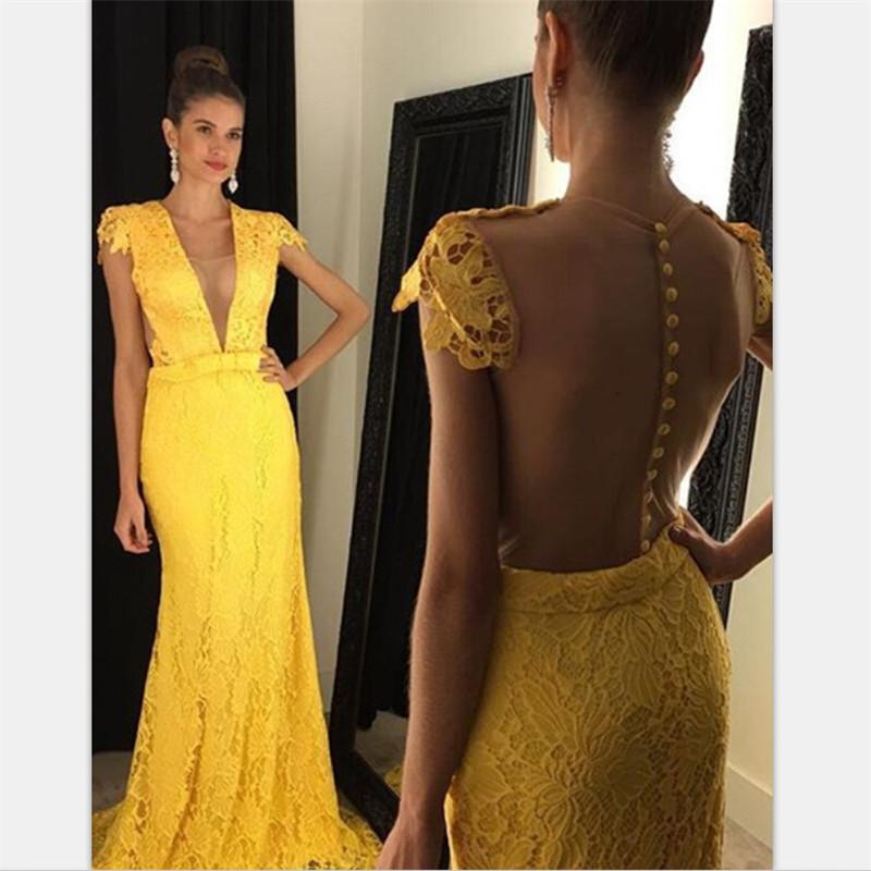 Chic amarelo laço vestidos de baile 2020 com apliques varredores de trem ver através de vestido longo vestidos formais robe de soiree