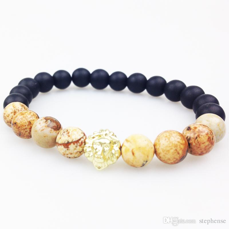 SN0352 Herren Perlen Armband Jaspis Stein Armband Mit Löwenkopf Gold Roségold Versilbert Mattschwarz Onyx Perlen Armbänder