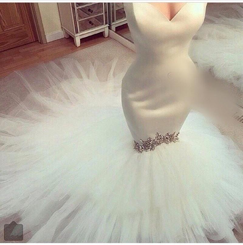 Sexy Sweetheart sirena vestido de novia 2016 recién llegado de cristal elegante con cuentas de tul vestido de boda nupcial de satén Lace Up