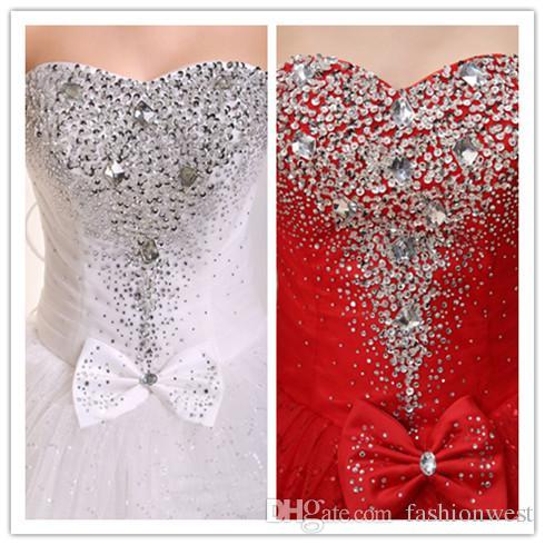 2016 vestidos de novia Nuevo vestido de novia de marfil blanco Vestido de novia Tamaño personalizado 6-8-10-12-14-16 Rhinestone Grace Vestidos de dama de honor Vestidos