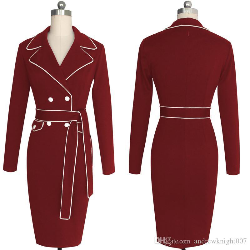 Women Autumn Winter Elegant Lapel Notched Collar Belted Button Contrast Wear to Work Business Office Sheath Fitted Dress S-4XL DK2231CG