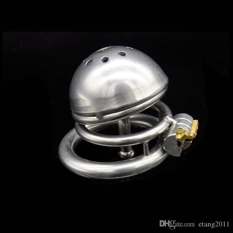 Ultimo design in acciaio inox piccolo dispositivo di castità maschile Gabbia adulti Cockring con curva Cock Ring Catetere uretrale BDSM Giocattoli del sesso Cintura di castità