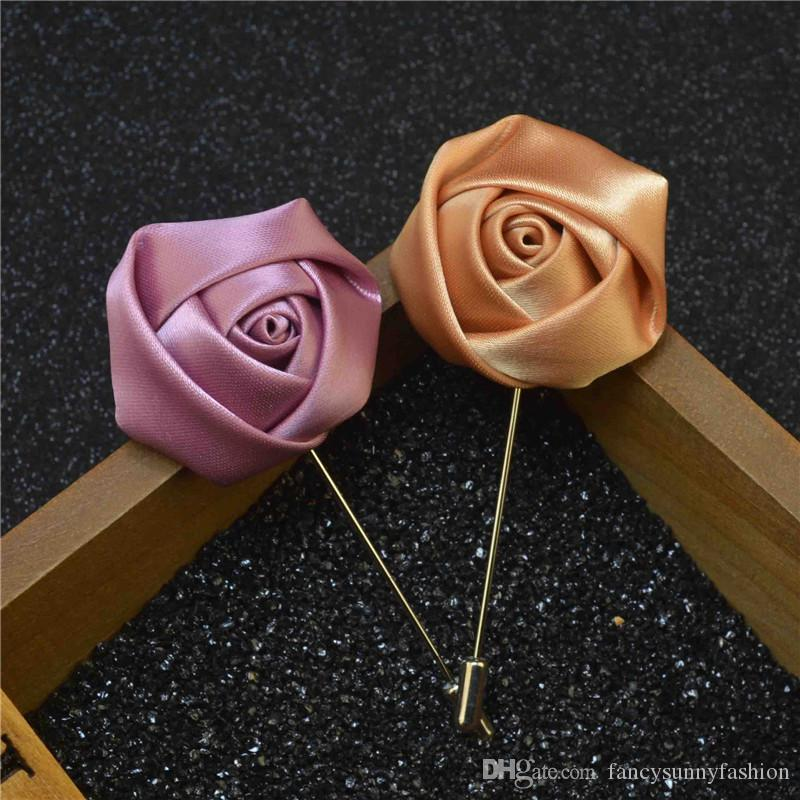 2018 luxury flower brooch lapel pins handmade boutonniere stick with 2018 luxury flower brooch lapel pins handmade boutonniere stick with silk rose for gentleman suit sweater wear in evening party price cheap from mightylinksfo
