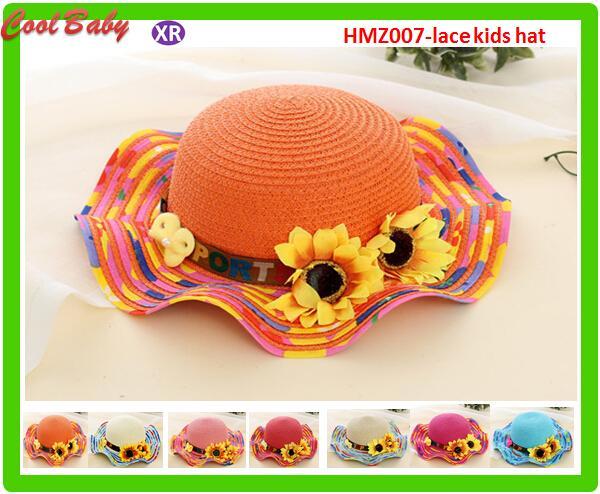 Mode häkeln neue kinder strohhut mädchen blumen sonnenhut im freien große sonnenblumengelb farbe 7 farben für wählen kopf rund 52 cm hmz007