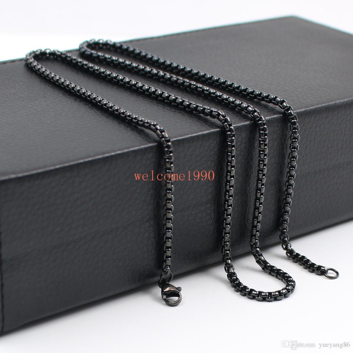 Gros bijoux large 3mm Boîte Rolo Chaîne Collier Acier Inoxydable Mode Hommes Femmes Bijoux Argent / or / noir 18 pouces-32 pouces