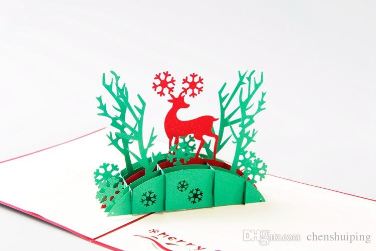 Handmade Christmas Cards Creative Kirigami & Origami 3D Pop UP Greeting Card with Santa Ride Desgin Postcards