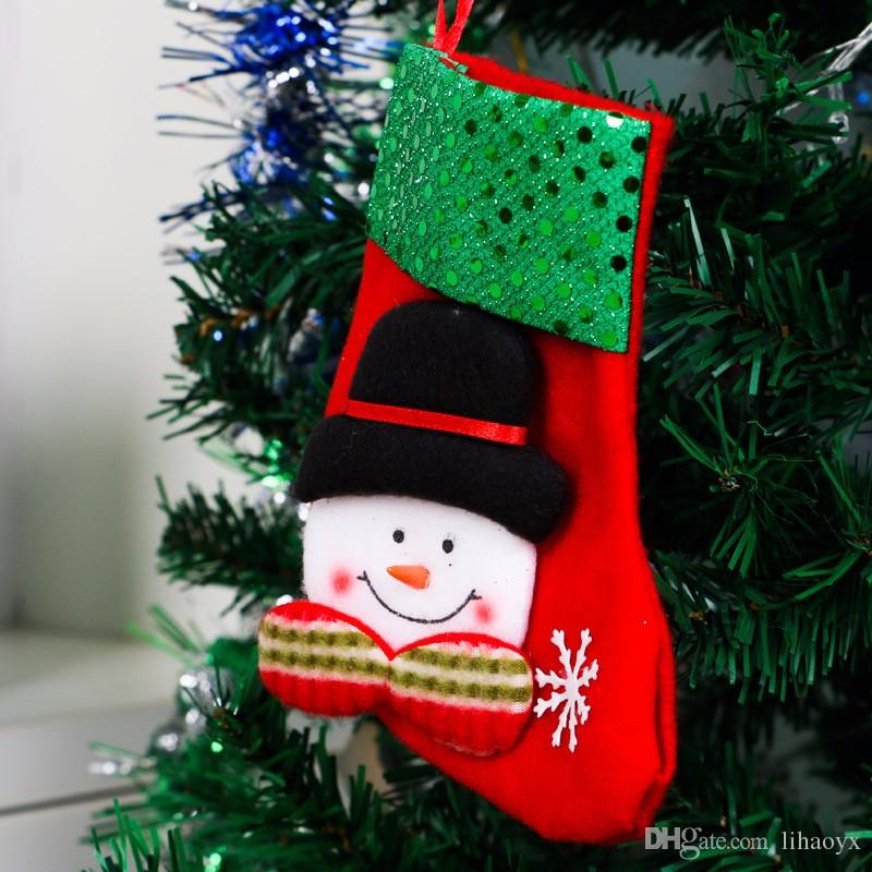 2017 newest Cartoon Christmas Tree Santa Socks Hanging Ornaments Decoration Fairy tale Christmas Festival Decoration crafts TO240