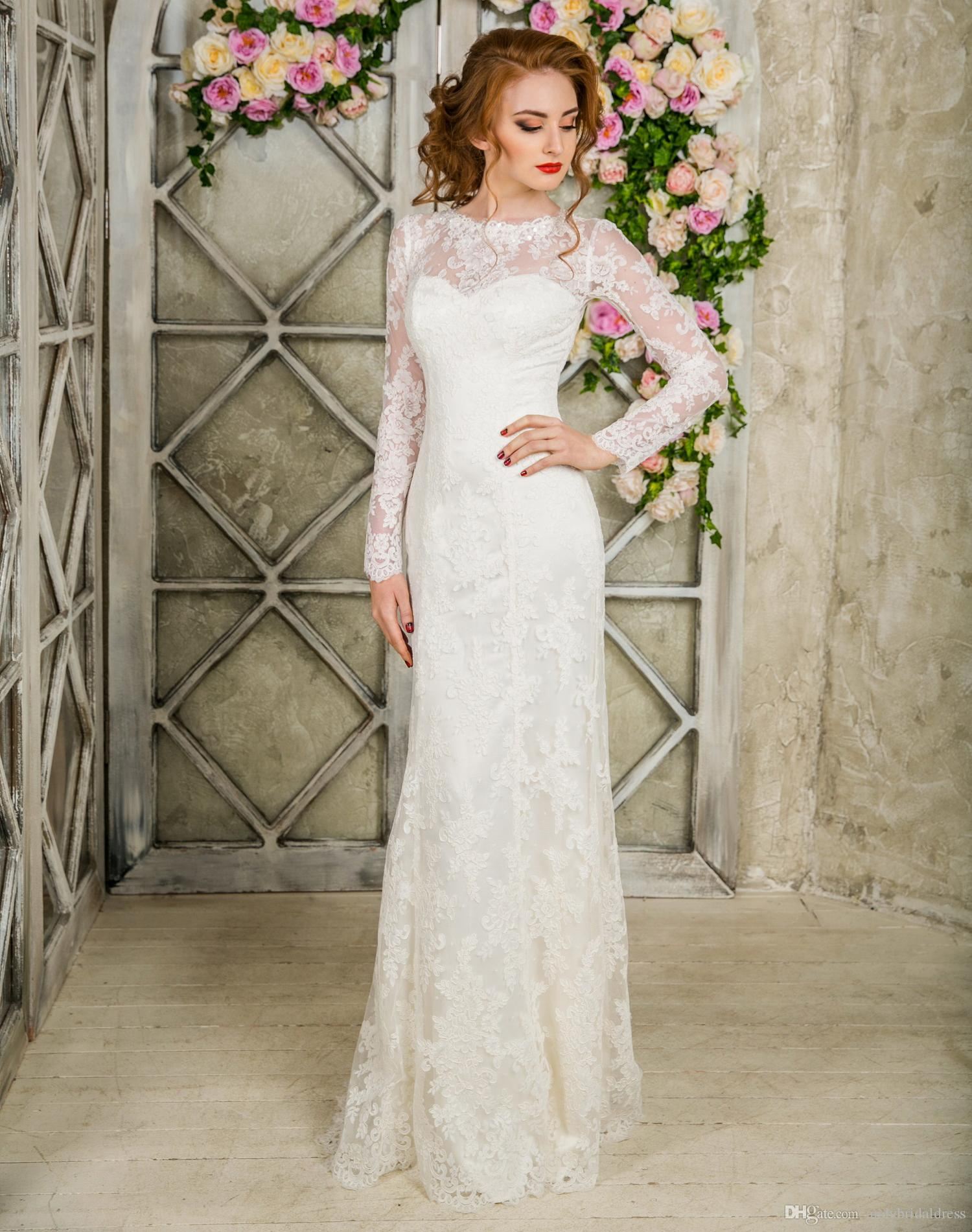 Discount Stunning 2017 Elegant Mermaid Wedding Dress Long Sleeve Lace Trumpet Gown Bridal Dresses Floor Length Bride Couture Gowns: White Elegant Mermaid Wedding Dresses At Websimilar.org