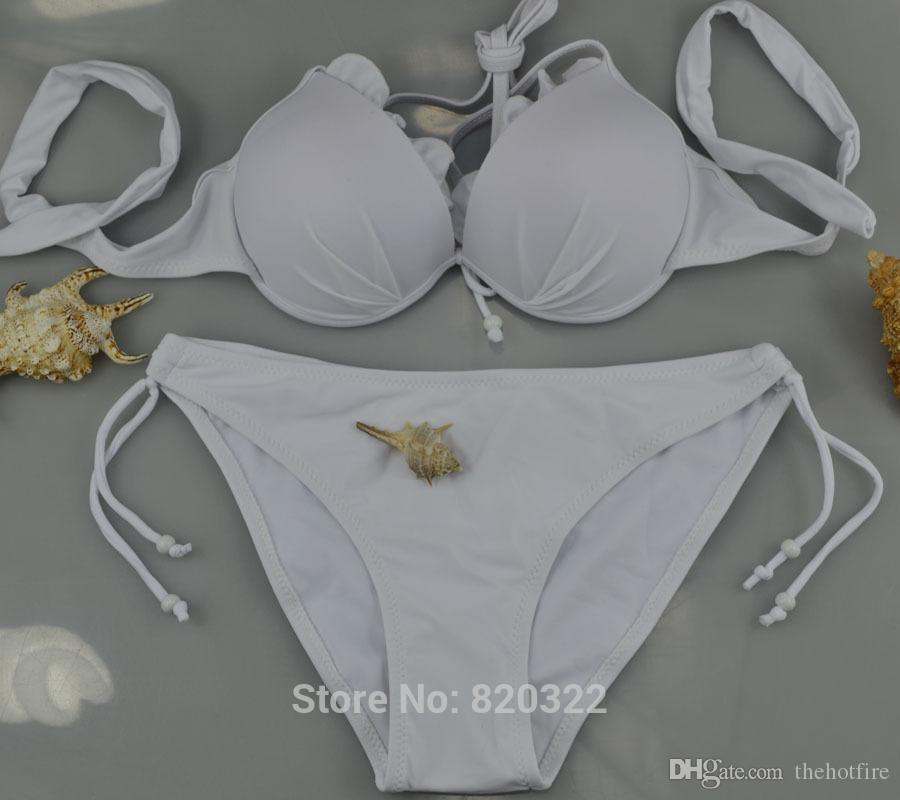 US SIZE Solid XS-L Size Top Push-up Subtle Lift Underwire Woman Halter Bikinis Set Sexy Two-piece Suit Beach Swimwear