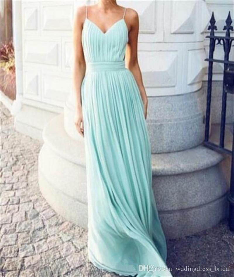 Sexy Backless vert menthe robes de demoiselle d'honneur longues bretelles spaghetti Criss Cross ruché sur mesure robe de fête de mariage robes de demoiselle d'honneur