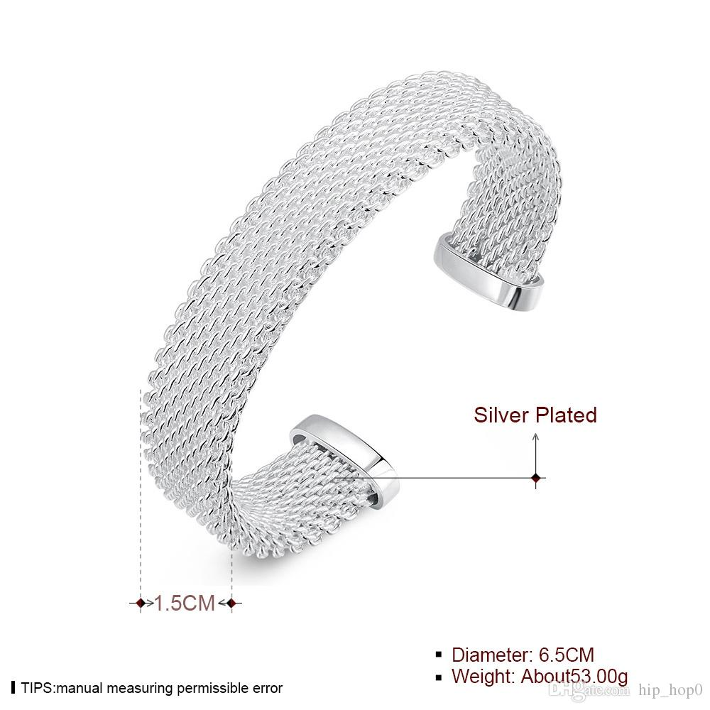 925 Sterling Silver Plated Jewelry Knitted Rattan Mesh Wide Circle Open Love Cuff Bracelets Bangles for Girls Women Christmas Gift