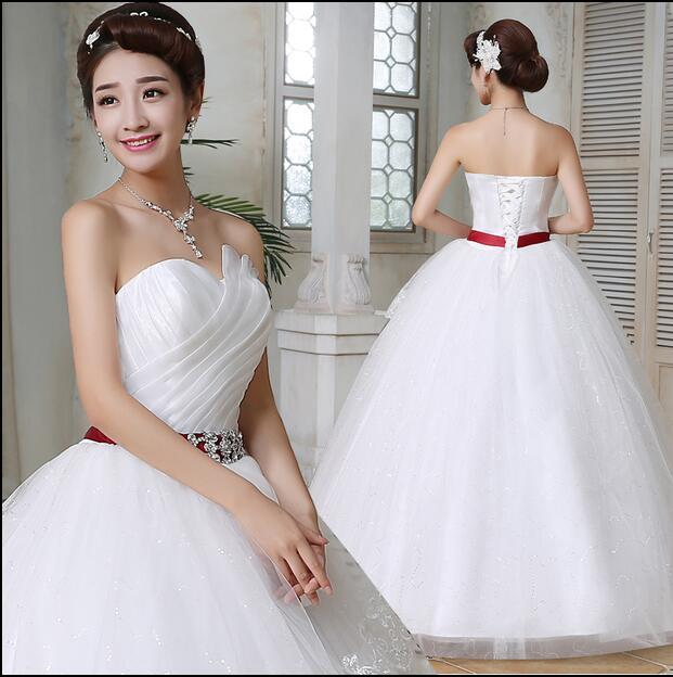 Wedding Dresses 2016 Red Belt White Plus Size Lace Wedding Dress ...