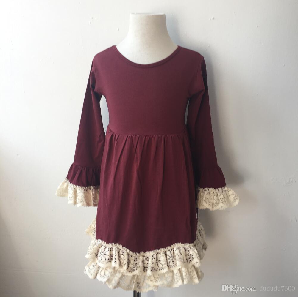 1446ad9d3 Fall Winter Children Birthday Party Elegant Long Sleeve Crochet ...