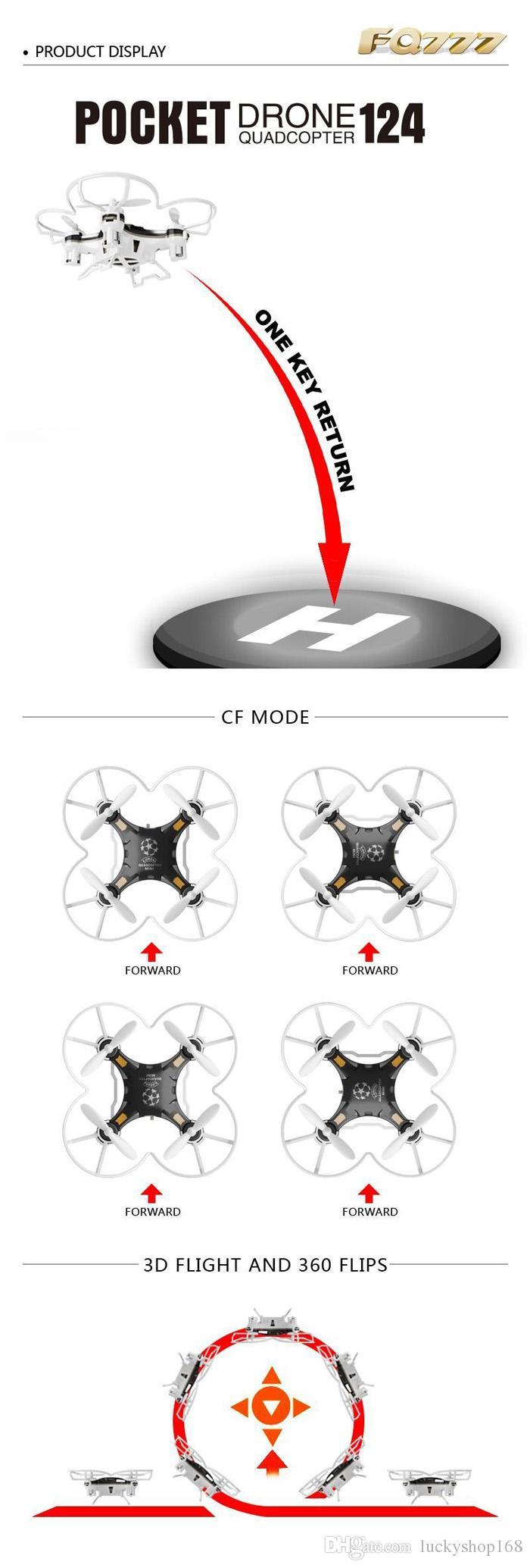 FQ777-124 Pocket Drone 4CH 6Axis Gyro Quadcopter Droni con controller commutabile Una chiave restituire RTF UAV RC Mini droni