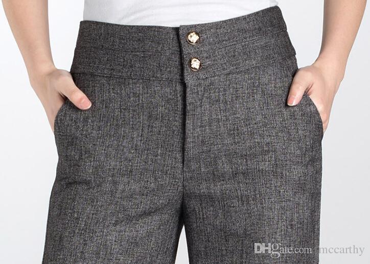 Venda de cintura Alta calças de pernas largas para as mulheres plus size OL nova chegada primavera outono linho mistura preto cinza comprimento total calças femininas dhm0601