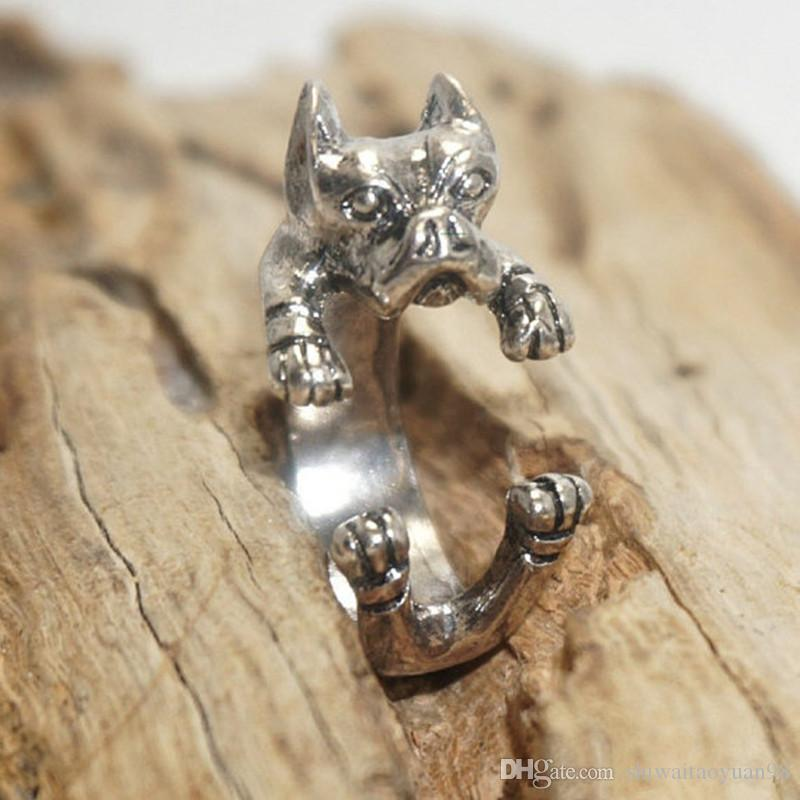 America retro punk Pit Bull Terrier handmade Ring animal hippie pit bull Ring jewelry for pet lovers