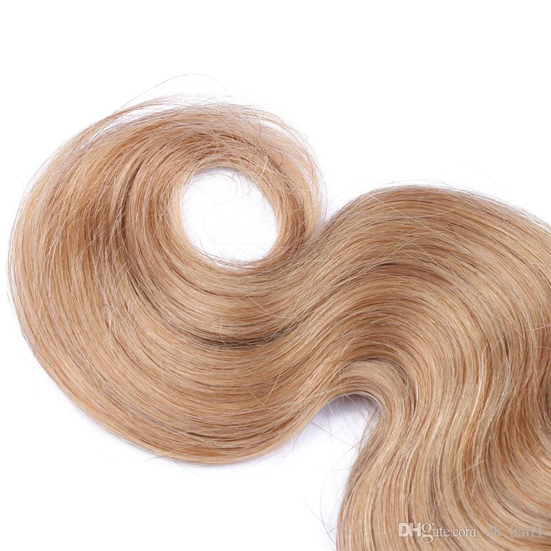 "8A Grade Honey Blonde Hair Weaves 300G10""-30"" 27 Blonde Body Wave Human Hair Bundles Blonde Indian Hair Extensions"