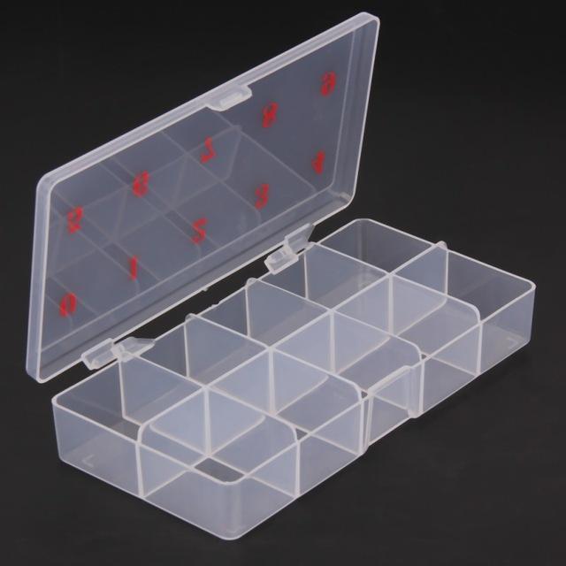 Professionelle 1 Stücke 10 Grids Nail art Box Leere Geteilten Fall Nagelspitzen Strass Perlen Edelsteine Aufbewahrungsbox Fall Durchsichtigen Kunststoff