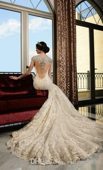 Rami Salamoun 2019 Luxury Sexy sparkly Crystals Lace Mermaid Wedding Dresses Amazing Back Beaded Elegant Arabic Middle East Bridal Dress
