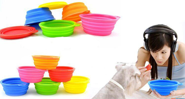 D02 new pet bowls silicone Bowl pet folding portable dog bowls dog drinking water feed food bowl free shipping