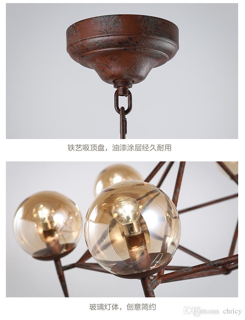 2016 new design vintage industrial LED glass pendant America style restaurant clothing coffee decoration Iron DNA modo magic pendant light