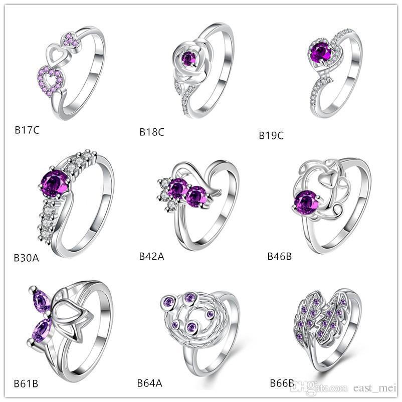 A estrenar estilo mixto moda púrpura piedra preciosa 925 anillo de plata EMGR25, anillo de plata esterlina Lotus planeta 10 piezas mucho