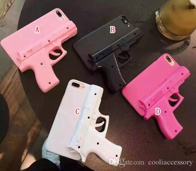Custodia rigida PC 3D a forma di pistola creativa Iphone X XS MAX XR 8 7 Plus 6 6S SE 5 5S 5C 4 4G 4S Custodia cellulare telefono cellulare di lusso 1pz