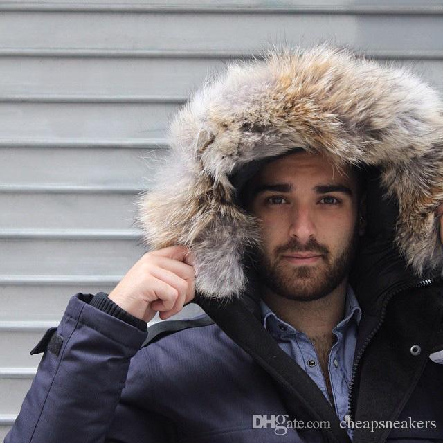 Navyblue Hombre Long Parka Crosshatch Holanda donsjack hombre chaqueta con cuello de piel real Suecia dunjacka