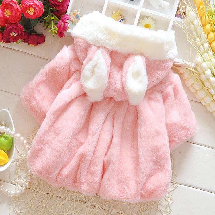 New Arrival Baby Infant Girls Fur Winter Warm Coat Cloak Jacket Thick Warm Clothes Baby Girl Cute Hooded Long Sleeve Coats Pink White