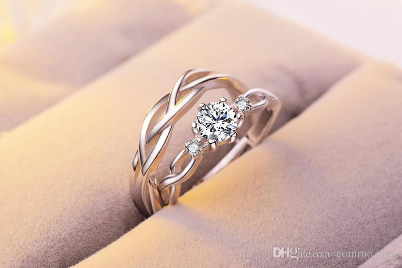 12 styles de luxe Sterling Silver Wedding Anneaux de mariage Femmes et hommes S Engagement CZ Gemstone Open Anneaux Pour Couple Promettre des bijoux de mode