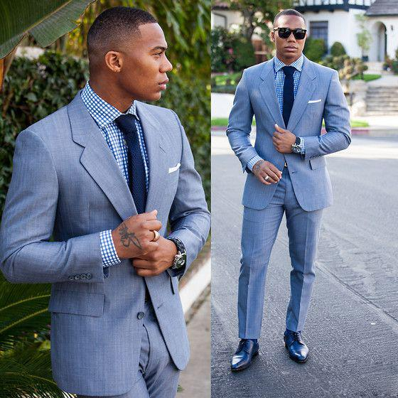 Two Pieces Pant Jacket Tie Light Blue Cheap For Black Man Suit ...