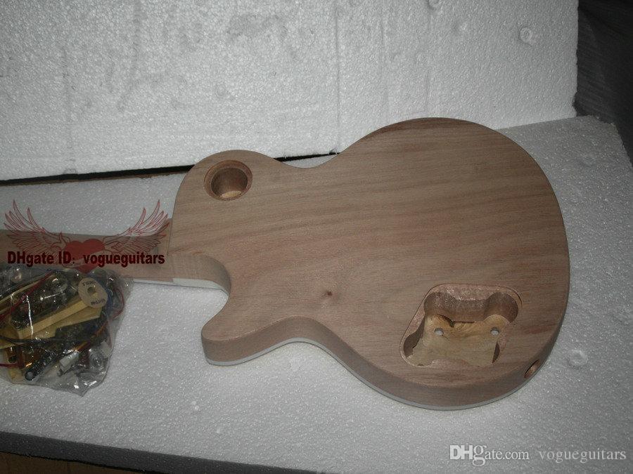 مخصص للتسوق الماهوجني الجسم قطعة واحدة الماهوجني الرقبة طقم مكتمل الغيتار الكهربائي مع ملتهب القيقب الأعلى مع الأجهزة