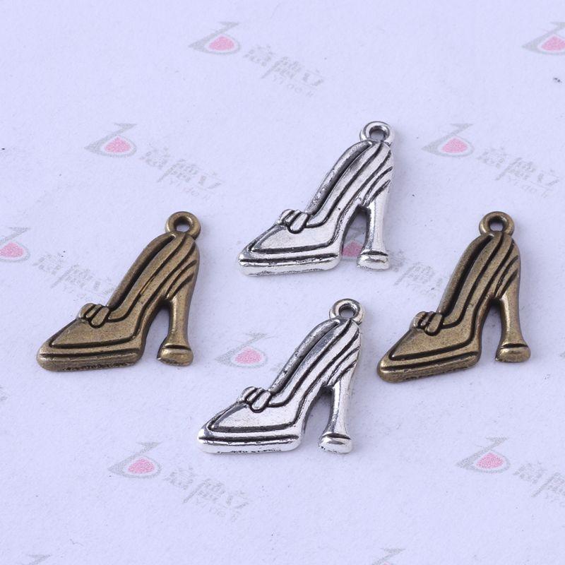 Diy Retro Plata / bronce zapatos de tacón alto Colgante Fit Pulseras o Collar de Los Encantos de aleación de Joyería 300 unids / lote 3346z