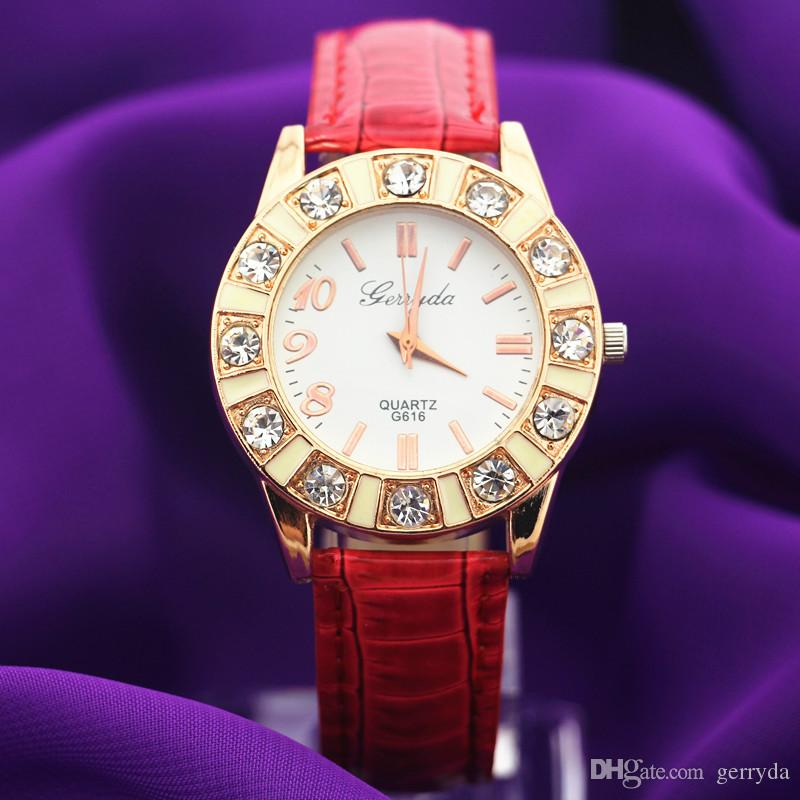 !PVC leather band,gold plate alloy round case,big crystal deco case,gerryda fashion woman lady quartz leather watches,616