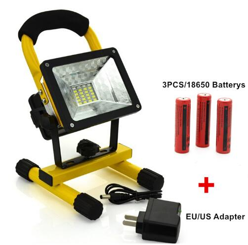 Waterproof 2400Lm 30W LED Flood Light Portable SpotLight 24LED Rechargeable Floodlight  Outdoor Travel Work Lamp+
