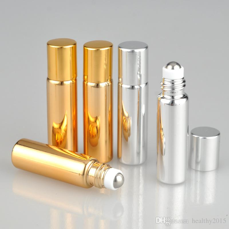 2018 New 5ml Gold Silver Glass Essential Oil Roller Bottles Metal Roller Balls Roll Deodorant Containers Glass Roll On Bottles 5ml Wholesale