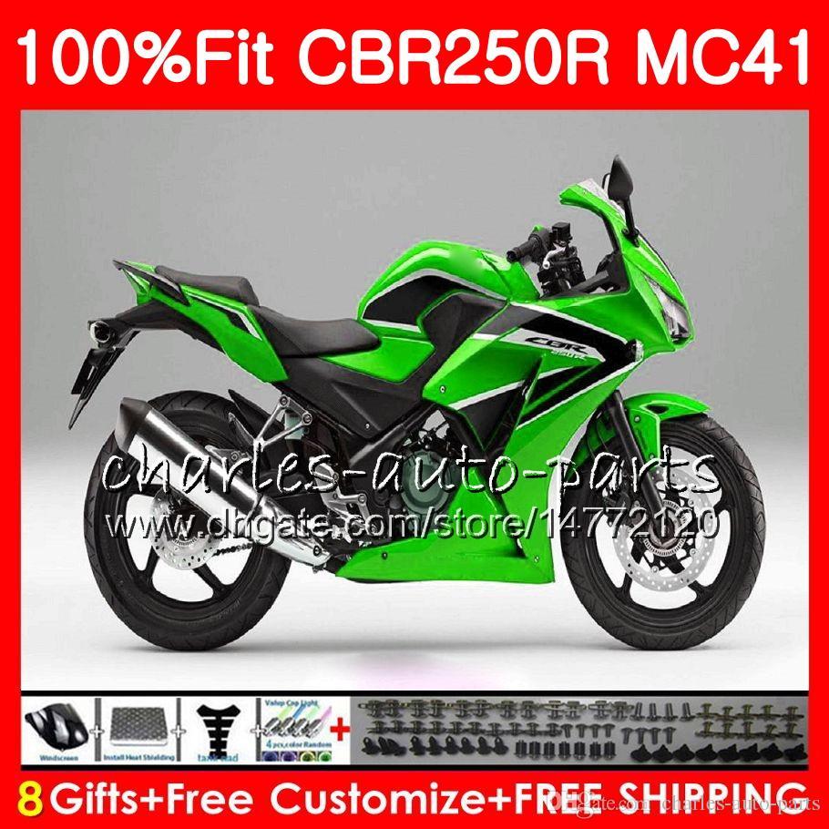 Einspritzung für HONDA grün schwarz CBR250 R CBR 250R 300R 11 12 13 14 15 94NO50 CBR300R CBR250R MC41 CBR 250 R 2011 2012 2013 2014 2015 Verkleidung