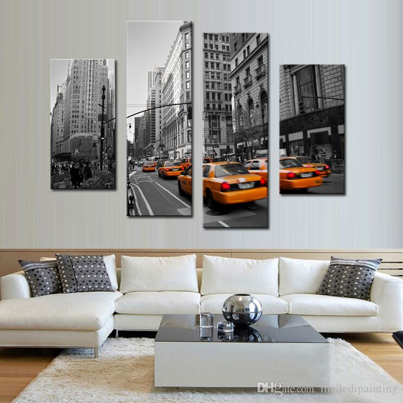 Amosi Art-Modern Stretched Canvas Print of Yellow Taxi New York Street Photo Print Canvas for Wall Home Decor with Wooden Framed