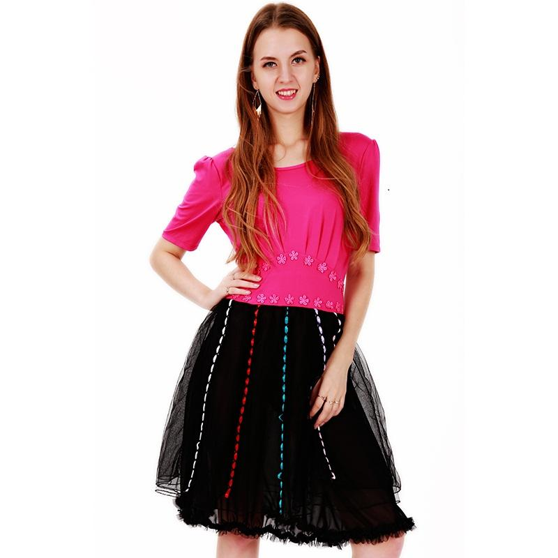 d2e26517e61 Plus Size Chiffon A Line Dress Elegant Pink Short Sleeve Top Patchwork  Black Transparent Knee Length Dress Vestido De Festa WB009068 Short And  Long Dress ...