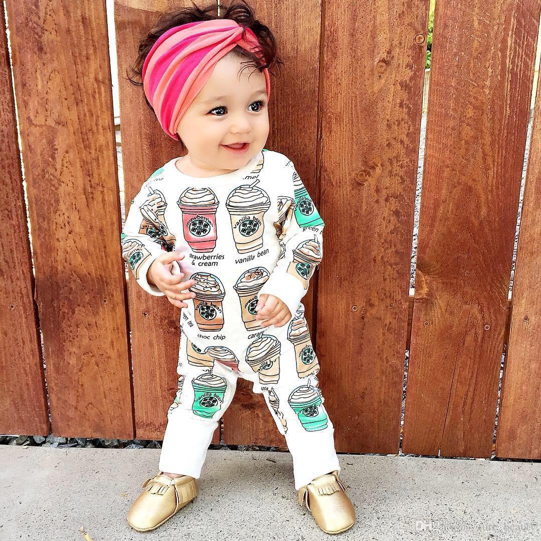 2018 15% off! 2016 baby girls cute coffee cup print rompers