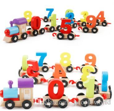riginal Muwanzi Children's Block Number Train Colorful Educational Puzzle Wooden Train Kids Assembly Puzzle Toys