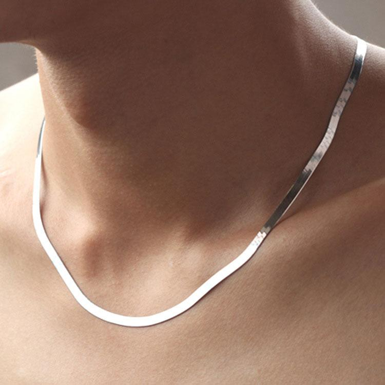 4MM Silver Necklace Collar Chunky Chain Short Couple Jewelry 925 Sterling Silver Snake Flat Knife Necklace Chain Fashion Jewelry New Arrival